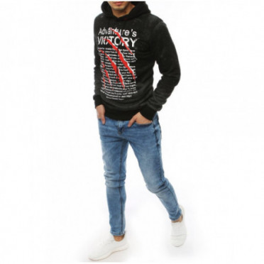 Džemperis (Bluza męska z nadrukiem ciemnoszara BX4473