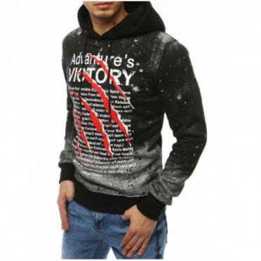 Džemperis (Bluza męska z nadrukiem jasnoszara BX4474