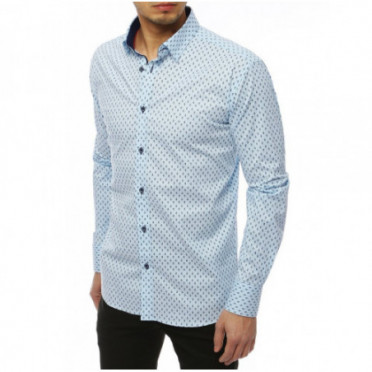 Marškiniai (Koszula męska PREMIUM z długim rękawem błękitna DX1823